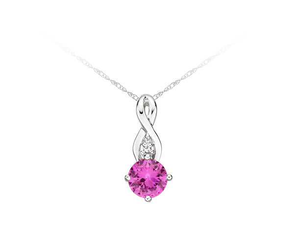 10kt White Gold Pink Sapphire and Diamond Infinity Pendant