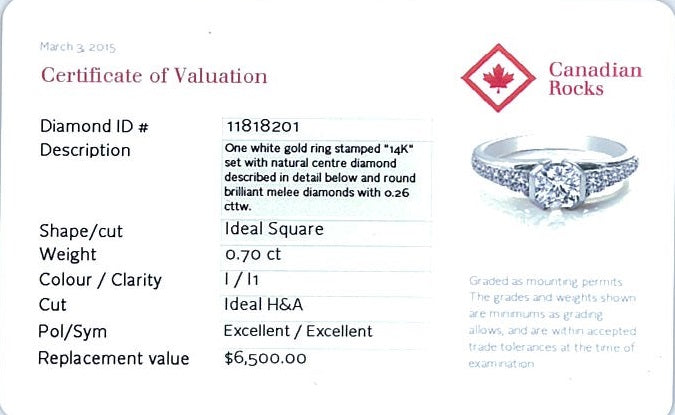 14kt White Gold 0.96cttw Ring with 0.70ct Ideal Square Canadian Center Diamond