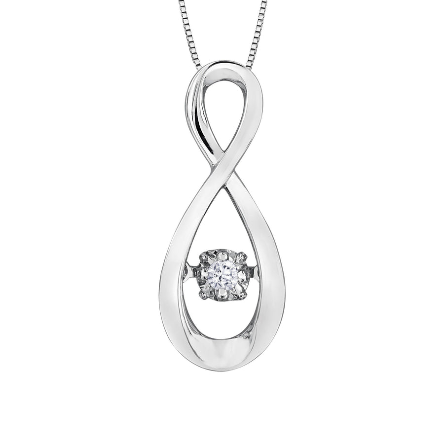 10KT WHITE GOLD PULSE INFINITY PENDANT. BRING LOVE TO LIFE.