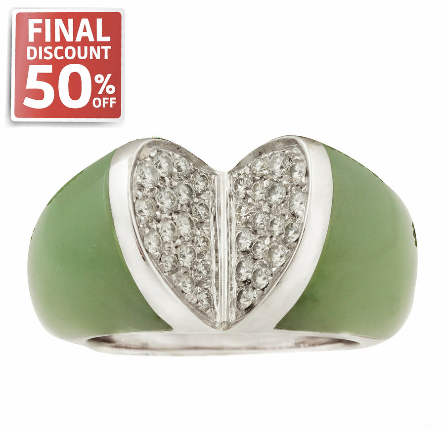 18kt White Gold Jade and 0.46cttw Diamond Ring