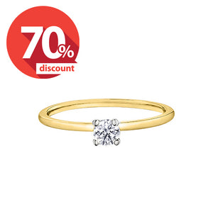 14kt Two Tone 0.33ct Round Solitaire Diamond Engagement Ring