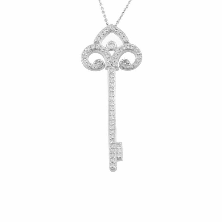 10KT WHITE GOLD 0.30CTTW DIAMOND KEY PENDANT