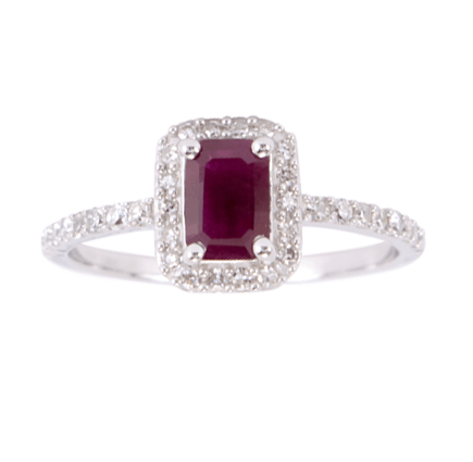 10KT White Gold Ruby Ring with 0.25cttw Diamond
