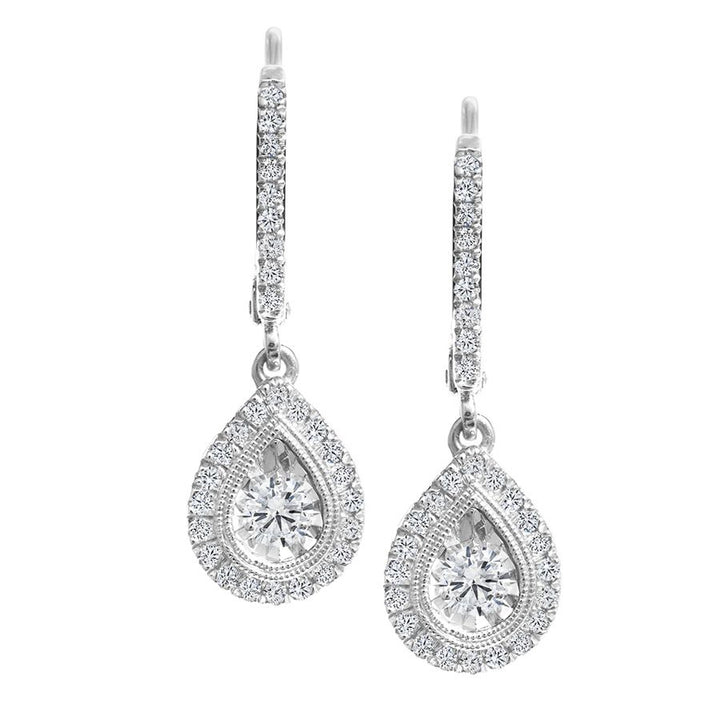 10kt White Gold 0.30cttw Canadian Diamond Pear Design Drop Earrings