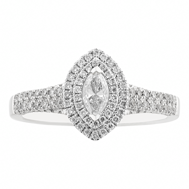 14KT WHITE GOLD 0.77CTTW MARQUISE CUT ENGAGEMENT RING