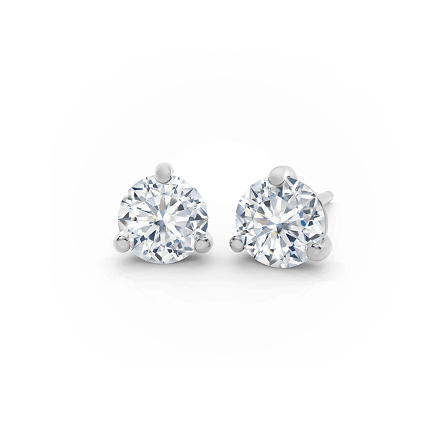 18kt White Gold 0.52cttw Round Diamond Stud Earrings