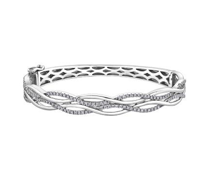 10kt White Gold 1.00cttw Diamond Bangle