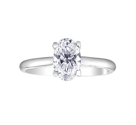 14kt White Gold Oval 1.00ct Diamond Engagement Ring
