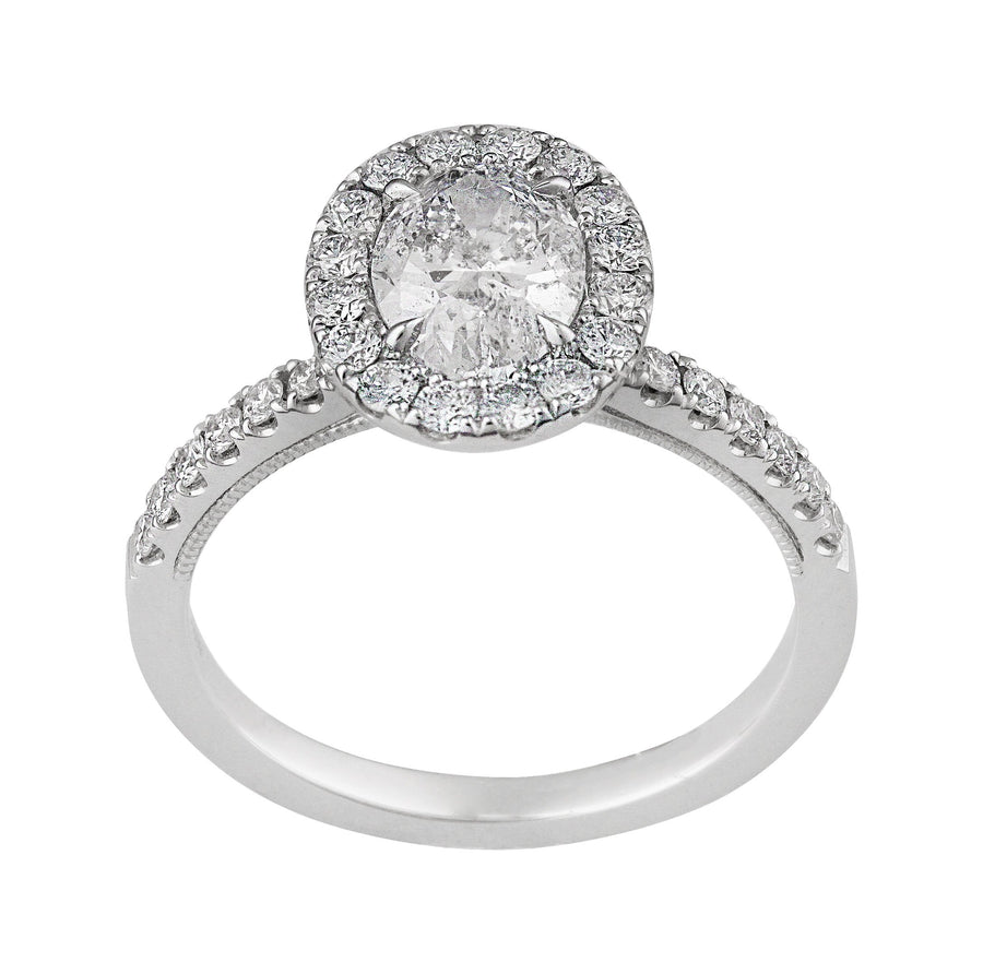 14KT WHITE GOLD 1.61CTTW OVAL CUT HALO DIAMOND ENGAGEMENT RING