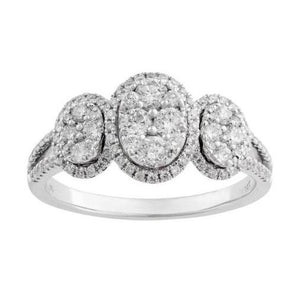 14KT WHITE GOLD 0.75CTTW OVAL SHAPED HALO RING