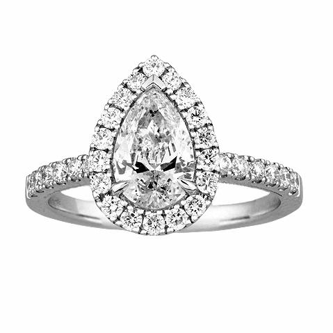 14KT WHITE GOLD 1.51CTTW PEAR CUT HALO ENGAGEMENT RING