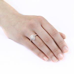 14KT WHITE GOLD 0.40cttw PEAR SHAPED HALO ENGAGEMENT RING