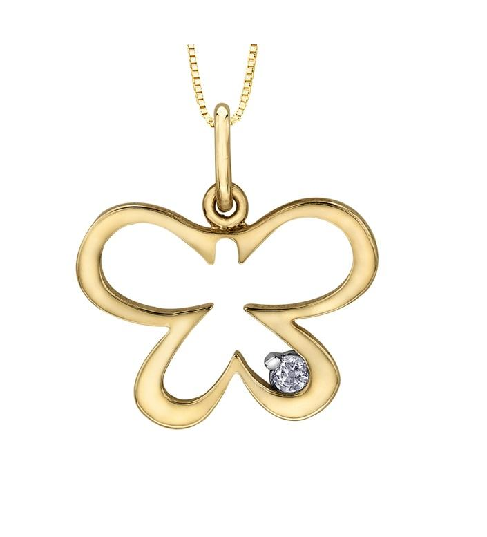 10kt Yellow Gold Diamond Butterfly Pendant