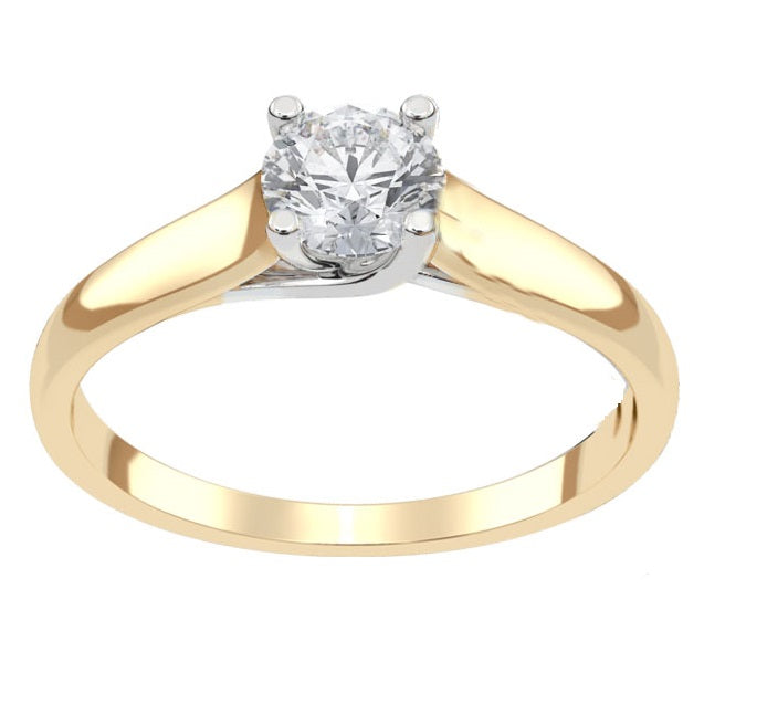 14kt Two Tone 0.50ct Round Diamond Engagement Ring