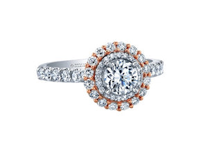 18kt White And Rose Gold 1.58cttw Halo Canadian Diamond Engagement Ring
