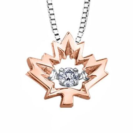 10KT ROSE GOLD MAPLE LEAF PULSE PENDANT FEATURING A CANADIAN DIAMOND