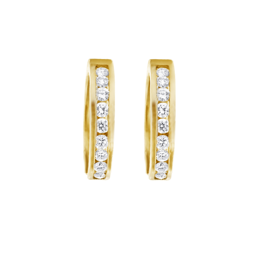 10kt Yellow Gold 0.50cttw Channel Set Diamond Hoop Earrings