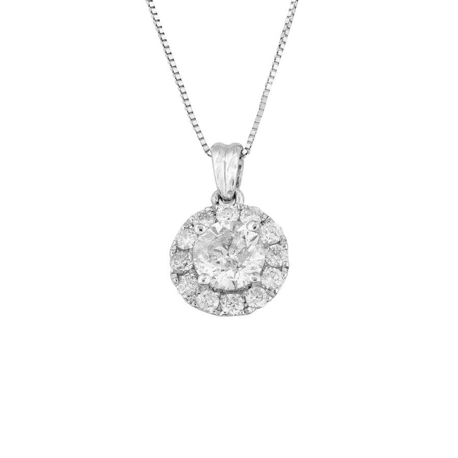14KT WHITE GOLD 1.00CTTW ROUND HALO DIAMOND PENDANT