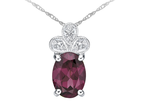 10kt White Gold Oval Rhodolite and Diamond Pendant