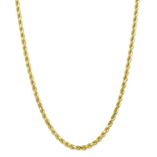 10kt Yellow Gold 4mm Wide Rope Chain 20 Inches