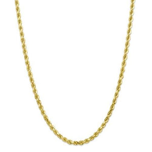 10kt Yellow Gold 3mm Wide Rope Chain 18 Inches