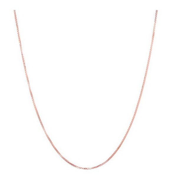10kt Rose Gold 0.80mm Box Chain in 18""