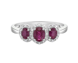 10kt White Gold Oval Ruby Ring with Diamond Halo's
