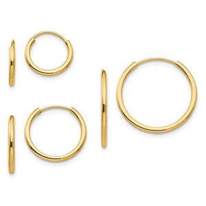 14KT YELLOW GOLD 3 PAIRS OF SLEEPER EARRINGS SET