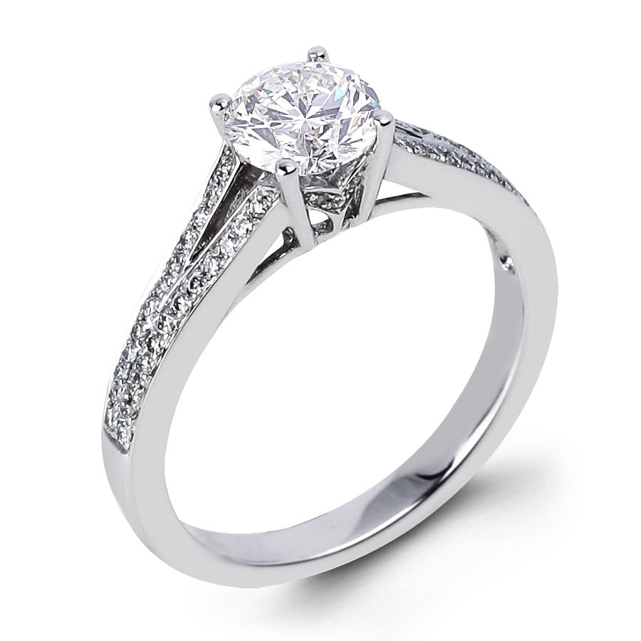 14kt White Gold 0.97cttw Engagement Ring Featuring a Canadian Diamond
