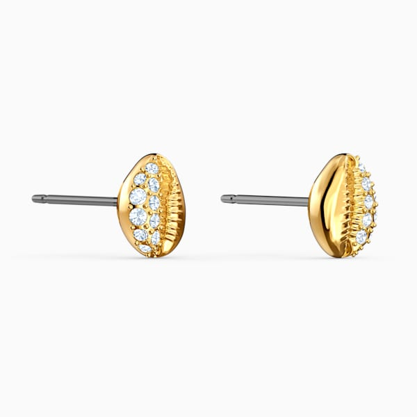 Swarovski Shell Stud Earrings, White, Gold-Tone Plated