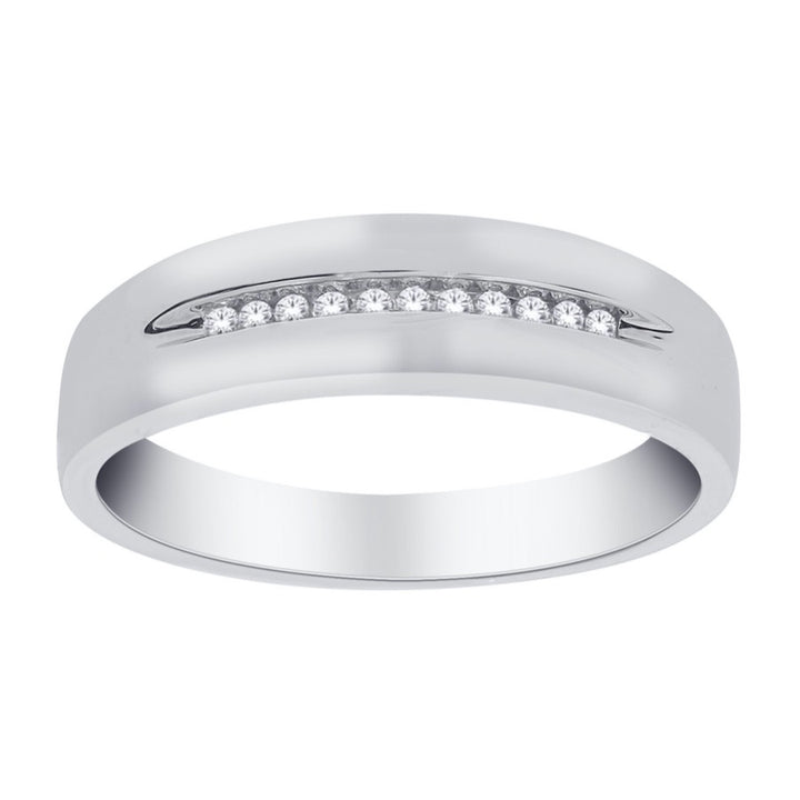 10kt White Gold 0.10cttw Diamond Men's Band