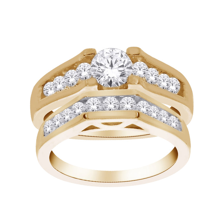 14kt Yellow Gold 1.50cttw Diamond Wedding Set