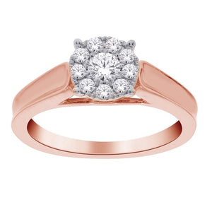 10kt Rose Gold 0.35cttw Halo Diamond Engagement Ring