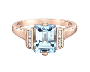 10kt Rose Gold Sky Blue Topaz and Diamond Ring