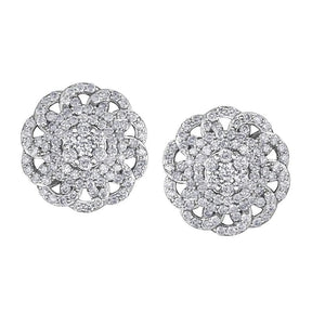 10KT WHITE GOLD 1.00CTTW  FLOWER DIAMOND EARRINGS