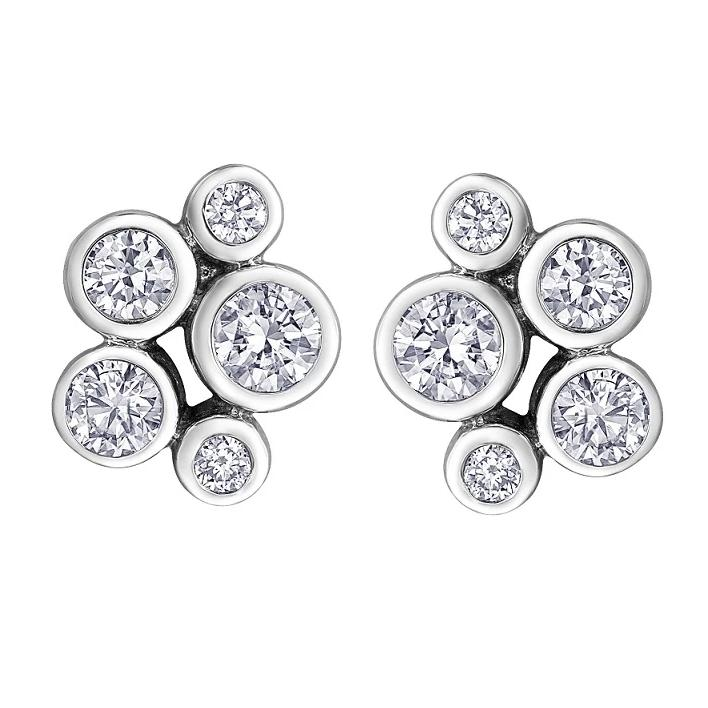10KT WHITE GOLD 0.50CTTW BEZEL STUD EARRINGS