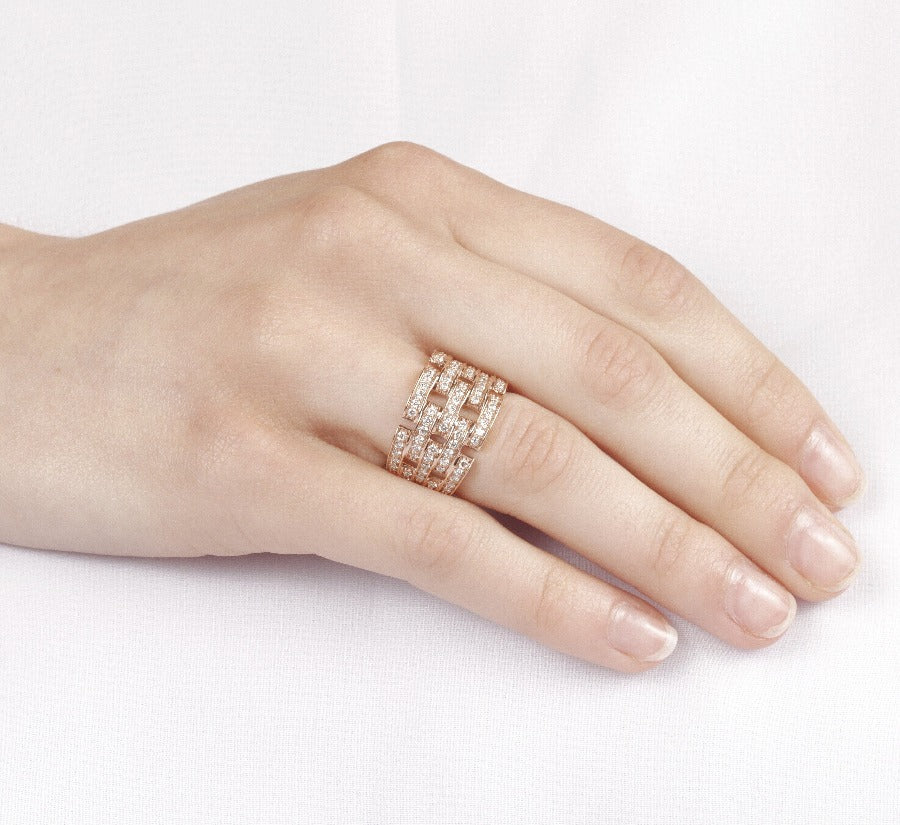 10kt Rose Gold 1.00cttw Pave Diamond Ring