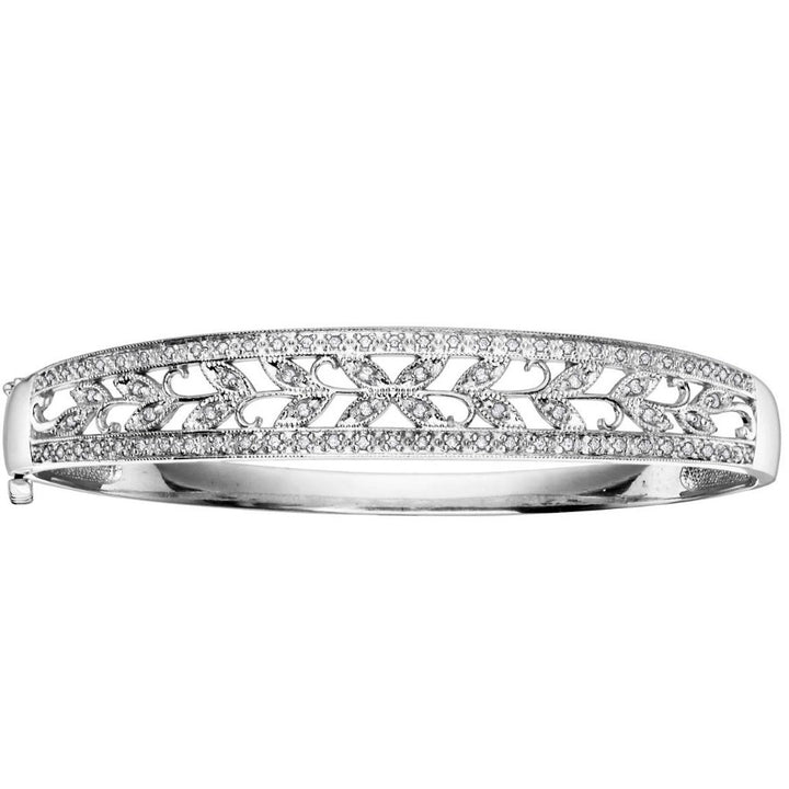 10KT WHITE GOLD 0.56CTTW FLORAL DIAMOND BANGLE