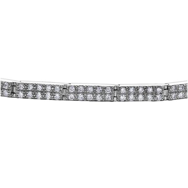 10KT WHITE GOLD 2.00CTTW TWO ROW DIAMOND TENNIS BRACELET