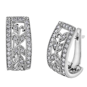 10KT WHITE GOLD 0.50CTTW FLORAL DIAMOND EARRINGS