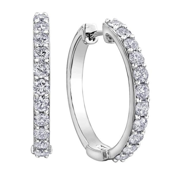 10kt White Gold 3.00cttw Diamond Hoop Earrings