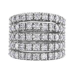 10KT WHITE GOLD 2.50CTTW FIVE ROW DIAMOND RING