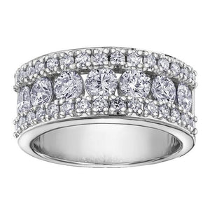 10KT WHITE GOLD 2.00CTTW THREE CHANNEL DIAMOND BAND