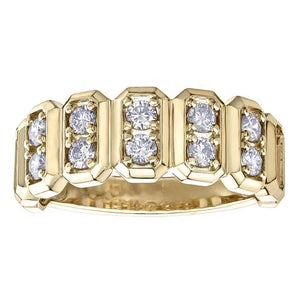 10KT YELLOW GOLD 1.00CTTW FIVE BAR DIAMOND BAND