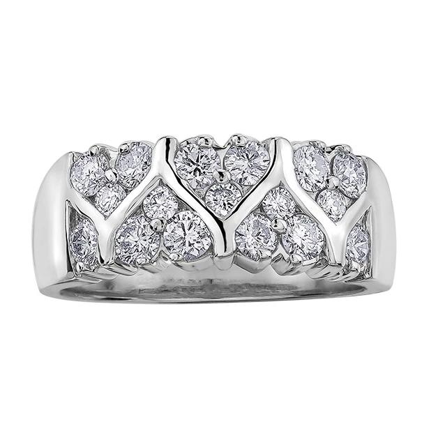 10KT WHITE GOLD 1.00CTTW HEART SHAPED PAVE DIAMOND BAND