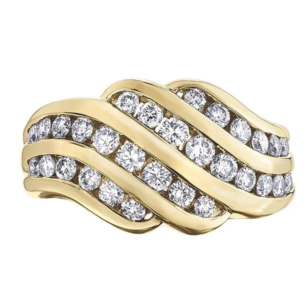 10KT YELLOW GOLD 1.00CTTW FOUR CHANNEL DINNER RING