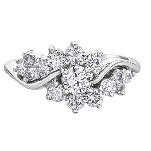 10KT WHITE GOLD 1.00CTTW DIAMOND FLOWER RING