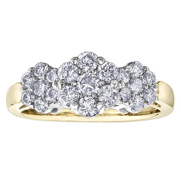 10KT TWO TONE 1.00CTTW THREE FLOWERS DIAMOND RING