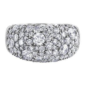 10KT WHITE GOLD 3.00CTTW DOMED PAVE DIAMOND RING