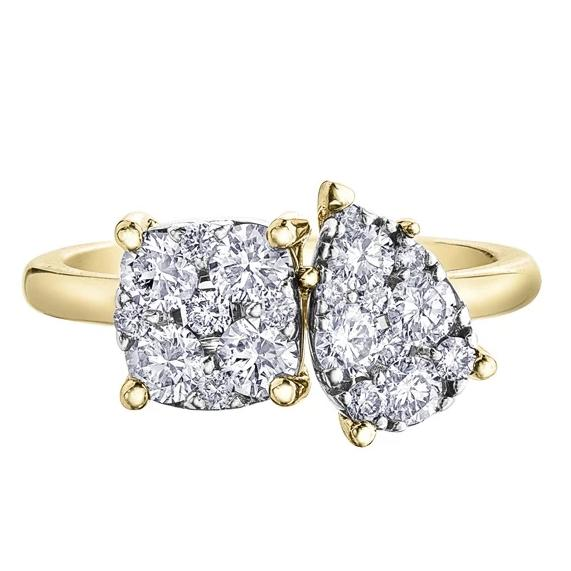 10KT YELLOW GOLD 1.00CTTW TWO-SHAPED CLUSTER RING